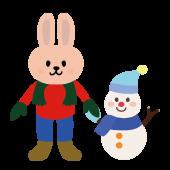 かわいい!ウサギ(うさぎ)と 雪だるまの フリー イラスト
