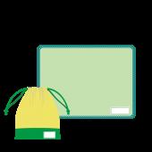 給食に♪ランチョンマット(ランチマット/グリーン)と巾着袋のイラスト