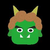かわいい♪緑鬼(おに)の 無料 イラスト【節分】