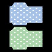 ポチ袋(お年玉袋)のテンプレート 水玉・青・緑 イラスト