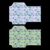 ポチ袋(お年玉袋)のテンプレート 花柄・青・緑 イラスト