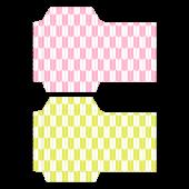 ポチ袋(お年玉袋)のテンプレート!和柄・矢絣(ピンク・黄)イラスト