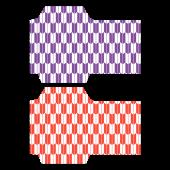 ポチ袋(お年玉袋)のテンプレート 和柄・矢絣(赤紫)イラスト