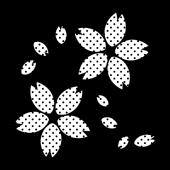 桜(さくら)の 白黒  (白ベース)水玉 イラスト