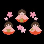 ひなまつり 無料  イラスト♪三人官女と桜