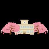 卒業式の日の学校と桜の フリー イラスト