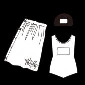 小学生!水泳セット(女の子) 白黒 無料 イラスト