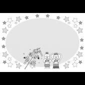 七夕!かわいい♪うさぎの 織姫と彦星の 無料の枠  白黒 イラスト