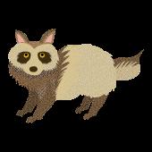 おしゃれな水玉♪ かわいい!たぬき(英語:raccoon dog)無料 イラスト