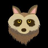 かわいい!たぬきの顔 のアップ♪(英語:raccoon dog)無料 イラスト