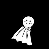 かわいい♪てるてる坊主の 白黒 フリー イラスト(梅雨・6月)