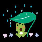 かわいい♪ 蛙(カエル)と雨と葉っぱの 無料 イラスト