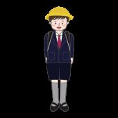 登下校中の 子供 制服とランドセル(男の子)の 無料 イラスト