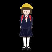 登下校中の 子供 制服とランドセル(女の子)の 無料 イラスト