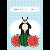 【残暑見舞い・縦】パンダとスイカのグリーティング  無料 イラスト