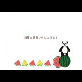 【残暑見舞い・横】パンダとスイカのグリーティング デザイン イラスト