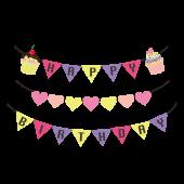女の子用 誕生日の飾り ガーランドの かわいい!無料 イラスト