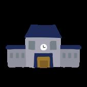 かわいい!青い屋根の 学校(スクール・校舎)の 無料 イラスト