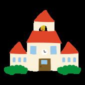 かわいい!赤い屋根の 学校 (スクール・校舎)の 無料 イラスト素材