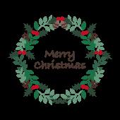 【クリスマス】Merry Christmasクリスマスリースのイラスト