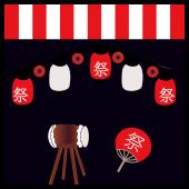 【祭り(まつり)】うちわ、提灯(ちょうちん)、太鼓!夜のお祭りイラスト