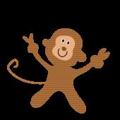 可愛い!ピース 猿(さる・サル・モンキー)の 面白い フリー イラスト