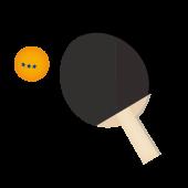 卓球!黒色ラケットとボール♪ フリー イラスト