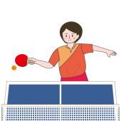 卓球 ♪ 卓球台で一生懸命プレーする女性の フリーイラスト