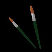 筆!絵筆 / 画筆 (絵の具 筆)太筆(15号) 細筆(6号) の 無料 イラスト