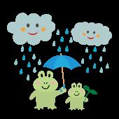梅雨の日のカエルの親子の 無料(フリー)イラスト