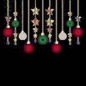 クリスマスの飾り(ボール型&星型オーナメント)イラスト