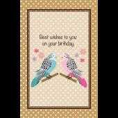 誕生日カード かわいいインコとメッセージを添えて! 無料 イラスト