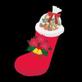 クリスマスブーツ(お菓子の長靴)の 無料 イラスト