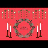 クリスマスカード キャンドルとオーナメントとリース(横)イラスト