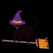 ハロウィン ホウキに乗った魔女猫(ネコ)の無料 イラスト