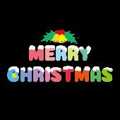 メリークリスマス!英語の文字 パステルカラーのイラスト