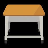 学校の机(つくえ・デスク)の 無料(フリー)イラスト素材