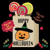 ハロウィンのおしゃれ な カボチャ と キャンディー のイラスト
