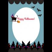 ハロウィンのグリーティングカード クロネコ魔女(縦) イラスト