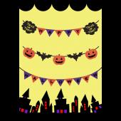 ハロウィングリーティングカード!おしゃれなガーランド(縦)イラスト