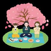 お花見 イラスト♪桜の木の下で♪