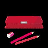 おすすめ!赤色の 筆箱(ふでばこ)の 無料 イラスト
