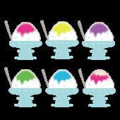 ガラスの器に入った美味しそうな かき氷(カキ氷)まとめ イラスト