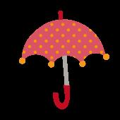 かわいい水玉(ドット)柄の赤い傘の 無料 イラスト