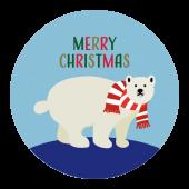 メリークリスマス!文字 と シロクマ のワンポイント(赤色) イラスト