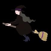 ハロウィン♪ほうきに乗った かわいい 魔女 のイラスト