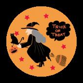 ハロウィン♪ホウキに乗った魔女と黒猫の フリー イラスト