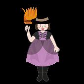 ハロウィン♪ 魔女の仮装をした女の子の フリー イラスト