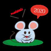 年賀状 2020年 おしゃれ!子年(ネズミ年) ねずみの  無料 イラスト