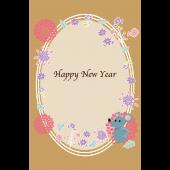 年賀状  2020 イラスト 美しい お花と ねずみ の 無料 イラスト(縦)